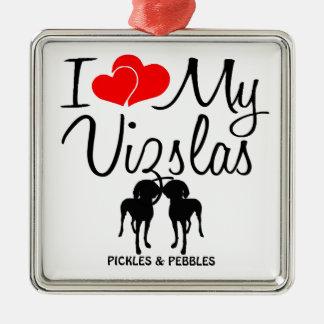 I Love My Two Vizslas Ornament