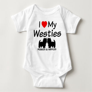 I Love My Two Westie Dogs Baby Bodysuit