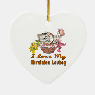 I Love My Ukrainian Levkoy Ceramic Ornament