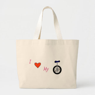 I love my unicycle large tote bag