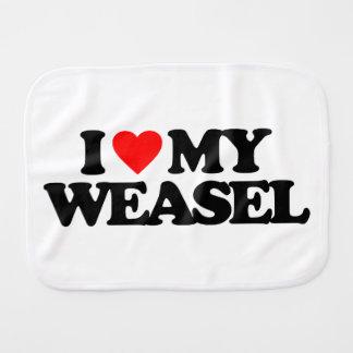 I LOVE MY WEASEL BURP CLOTH