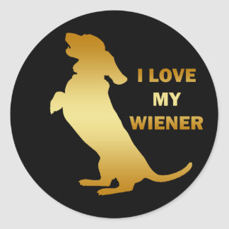 I LOVE MY WEINER CLASSIC ROUND STICKER