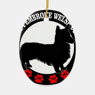 i love my welsh corgi ceramic oval ornament