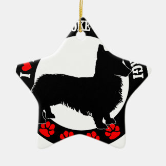 i love my welsh corgi ceramic star ornament