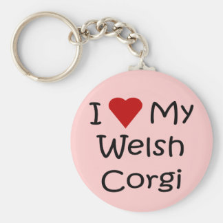 I Love My Welsh Corgi Dog Breed Lover Gifts Basic Round Button Keychain