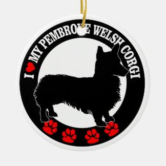 i love my welsh corgi round ceramic ornament