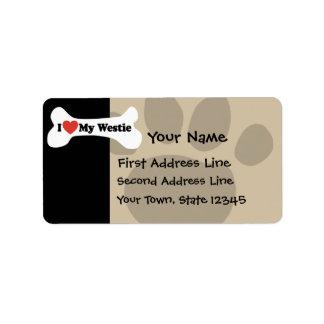I Love My Westie - Dog Bone Personalized Address Labels