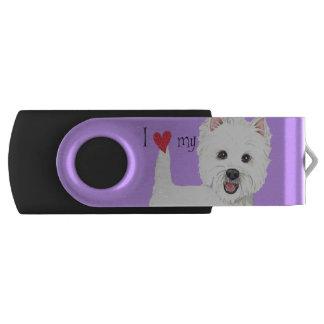 I Love my Westie Swivel USB 3.0 Flash Drive