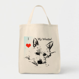 I Love My Westie, With Red Heart, Ink Drawing Tote Bag