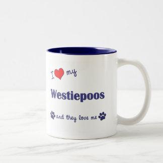 I Love My Westiepoos (Multiple Dogs) Two-Tone Coffee Mug