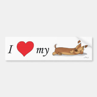 I love my Wiener dog Bumper Sticker