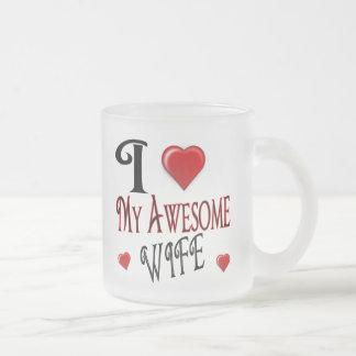 I Love My Wife Logo popular affordable 10 Oz Frosted Glass Coffee Mug