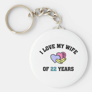 I love my wife of 22 years basic round button keychain