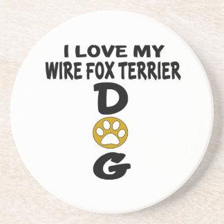 I Love My Wire Fox Terrier Dog Designs Beverage Coasters