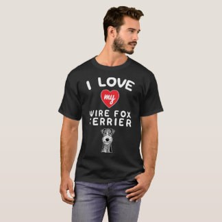 I love my Wire Fox Terrier Face Graphic Art T-Shirt