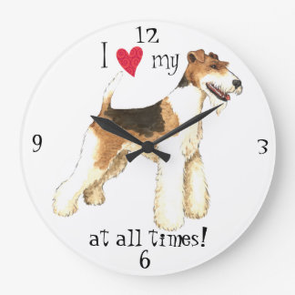 I Love my Wire Fox Terrier Large Clock