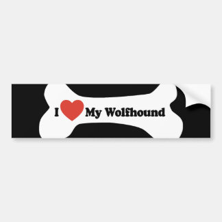 I Love My Wolfhound - Dog Bone Bumper Sticker