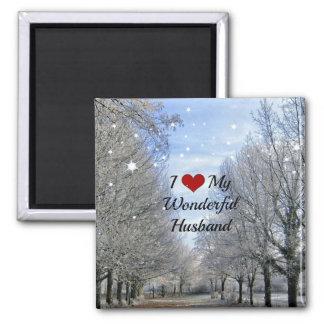I Love My Wonderful Husband - Snowy Winter Day Magnet
