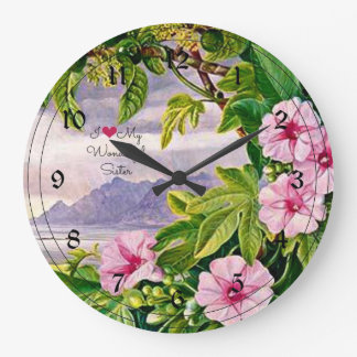 I Love My Wonderful Sister - Tropical Landscape Large Clock