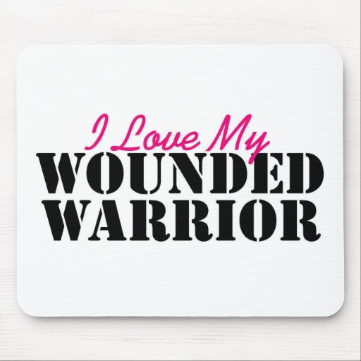 I Love My Wounded Warrior Mouse Pads