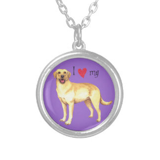I Love my Yellow  Lab Silver Plated Necklace