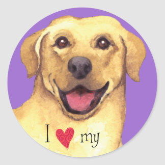 I Love my Yellow  Lab Round Sticker