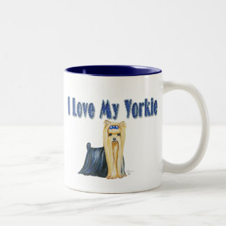 I Love My Yorkie Art Dog Print Two-Tone Coffee Mug