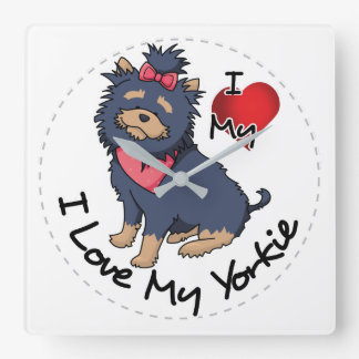I Love My Yorkie Dog Square Wall Clock
