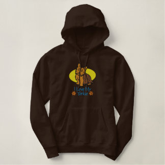 I Love My Yorkie Embroidered Hoodie