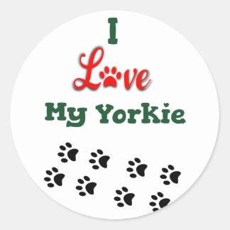 I Love My Yorkie Small Sticker