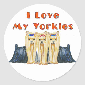 I Love My Yorkies Art Design Stickers Tags