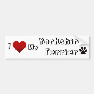 I love my yorkshire terrier bumper sticker