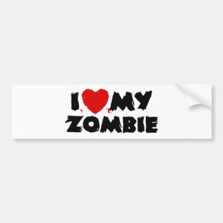I Love My Zombie Bumper Sticker