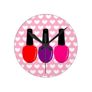 I Love Nail Polish Red Pink Purple Nail Polish Art Round Clock
