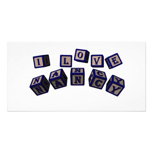 I love Nancy toy blocks in blue Photo Card