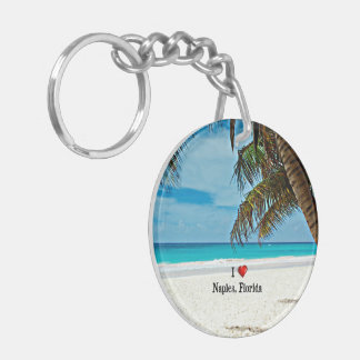 I Love Naples, Florida Double-Sided Round Acrylic Keychain