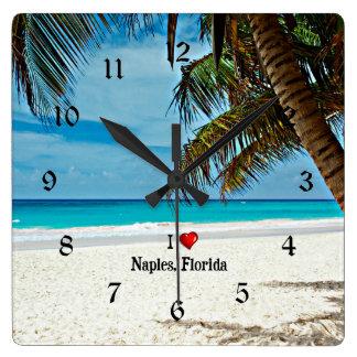 I Love Naples, Florida Square Wall Clock