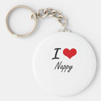 I Love Nappy Basic Round Button Keychain