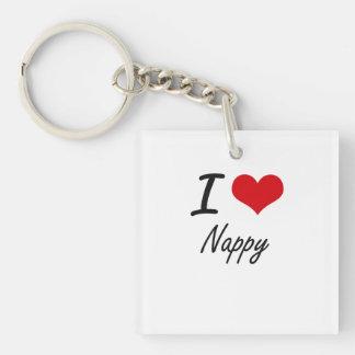 I Love Nappy Single-Sided Square Acrylic Keychain