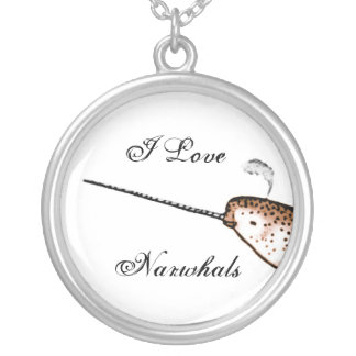 I Love Narwhals Silver Plated Necklace