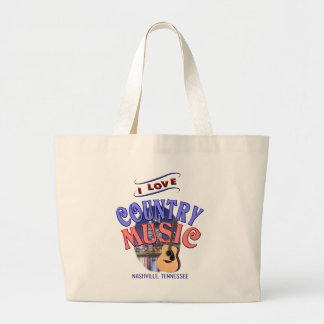 I Love Nashville Country Music Large Tote