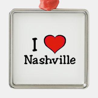 I Love Nashville Silver-Colored Square Ornament