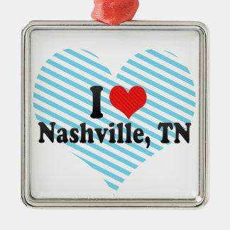 I Love Nashville, TN Silver-Colored Square Ornament