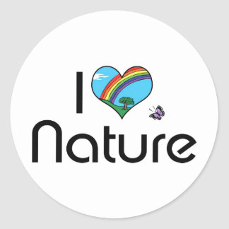 I Love Nature Classic Round Sticker
