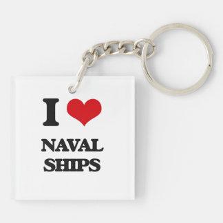 I Love Naval Ships Acrylic Keychain