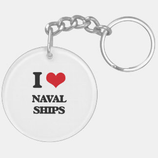 I Love Naval Ships Key Chain