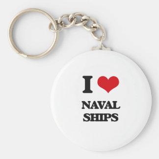 I Love Naval Ships Keychain