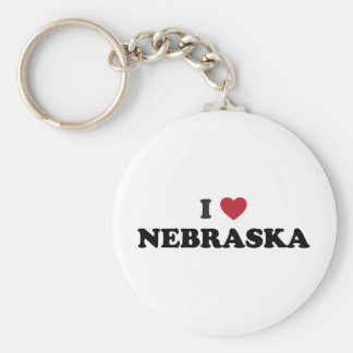 I Love Nebraska Basic Round Button Keychain