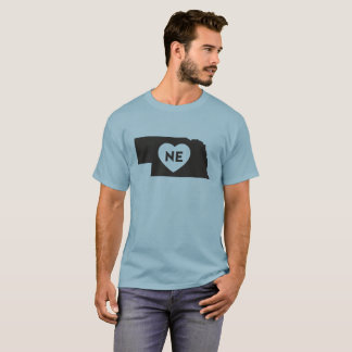 I Love Nebraska State Men's Basic Dark T-Shirt