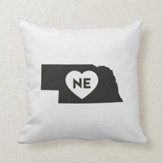 "I Love Nebraska State Throw Pillow 16"" x 16"""